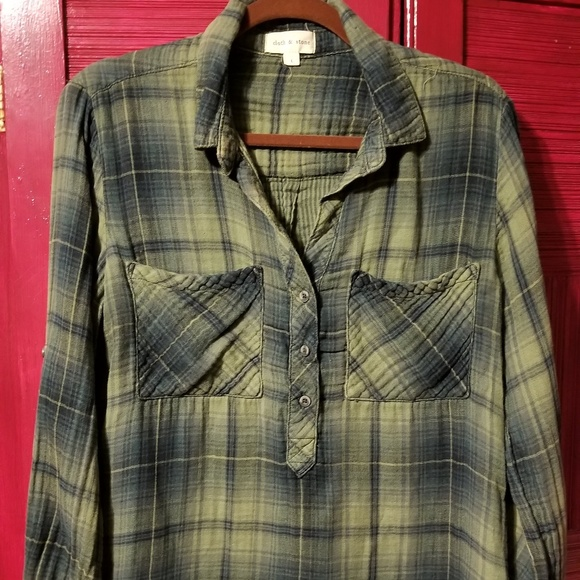 Cloth & Stone Double Layer Pull-over Plaid